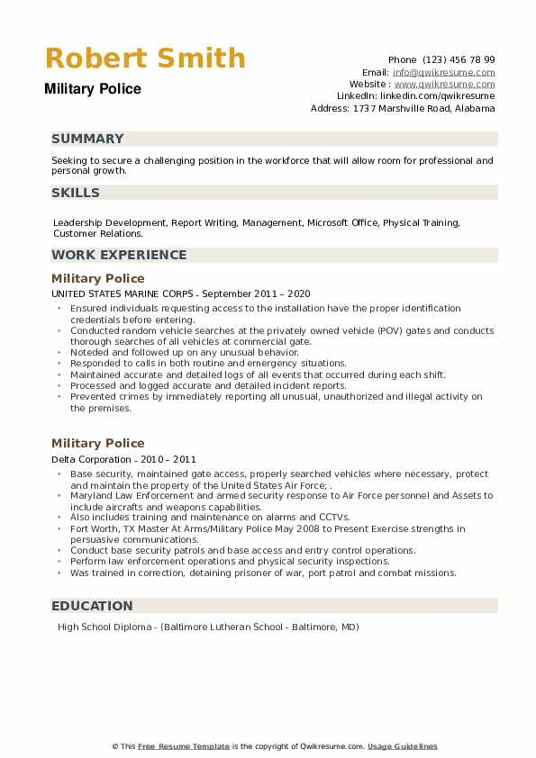 Military Police Resume example