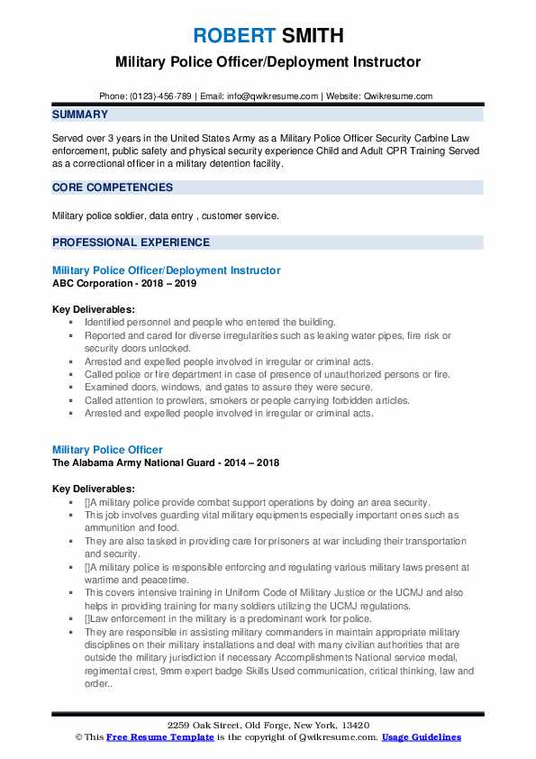 Military Police Officer/Deployment Instructor Resume Example