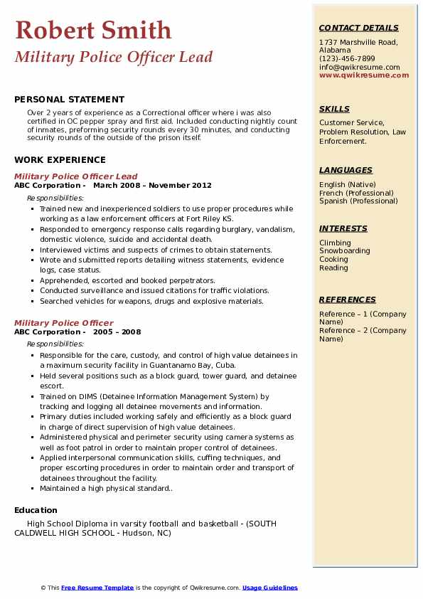 Military Police Officer Lead Resume Sample
