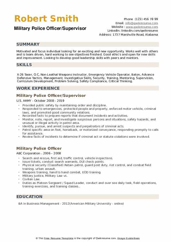 Military Police Officer/Supervisor Resume Example
