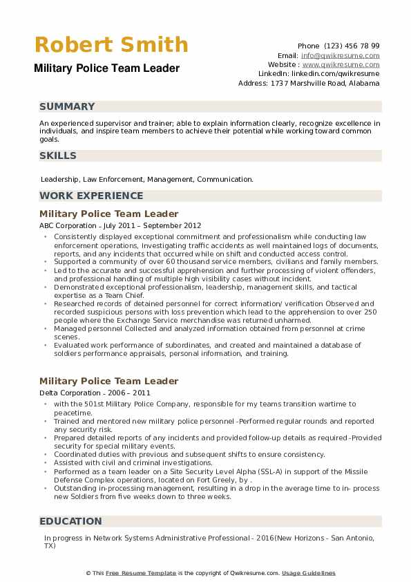Military Police Team Leader Resume example