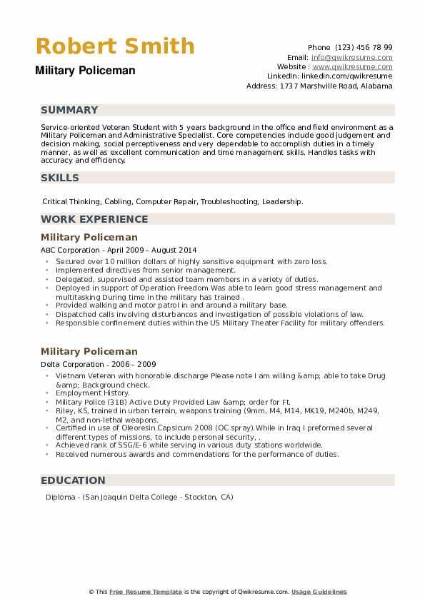 Military Policeman Resume example