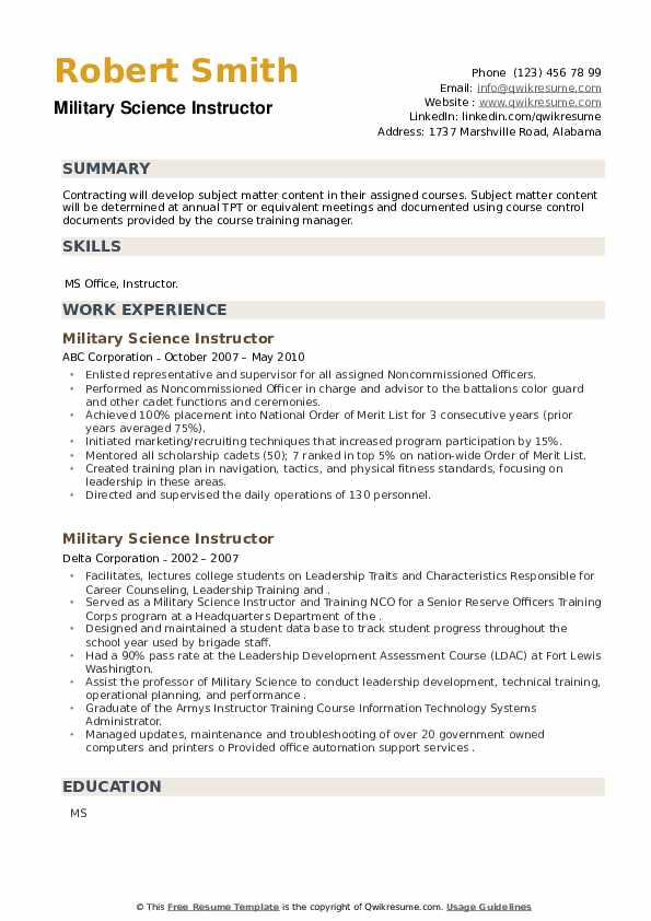 Military Science Instructor Resume example