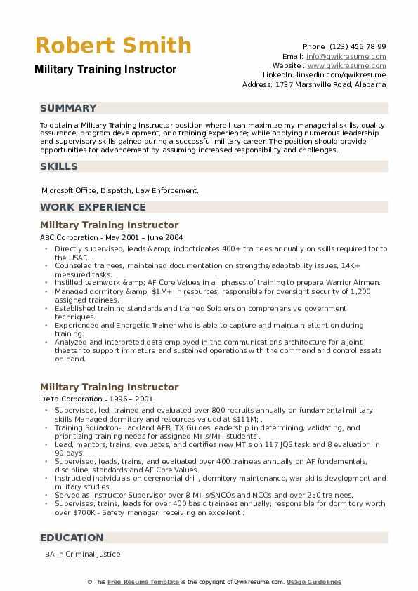 Military Training Instructor Resume example
