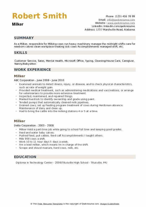 Milker Resume example