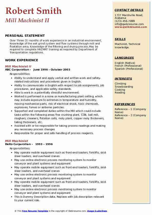 Mill Machinist Resume example