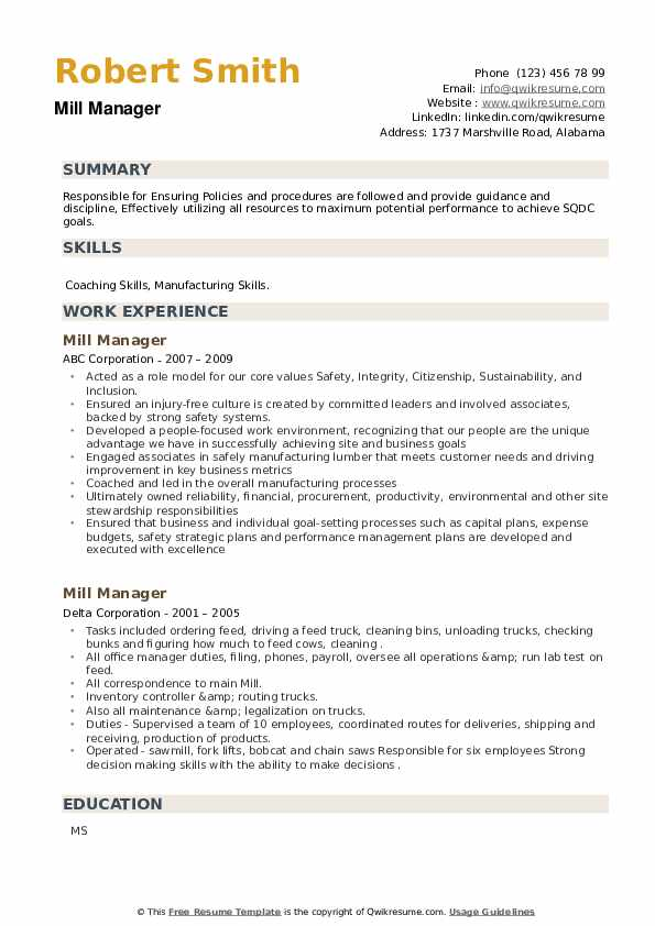 Mill Manager Resume example