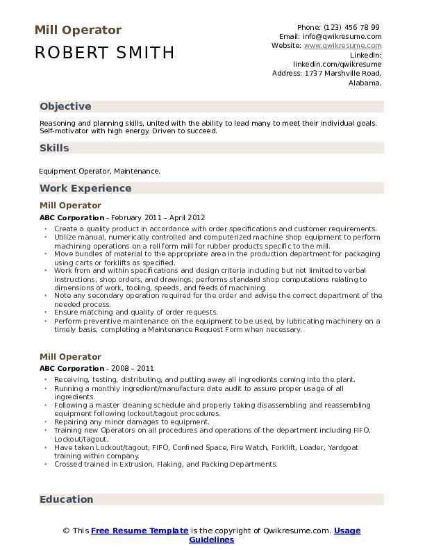 Mill Operator Resume Sample