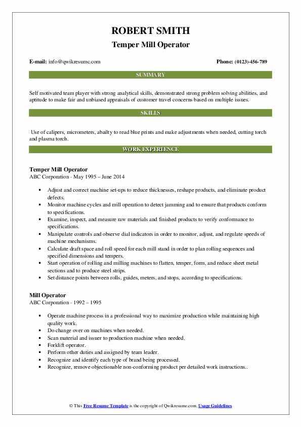 Temper Mill Operator Resume Template