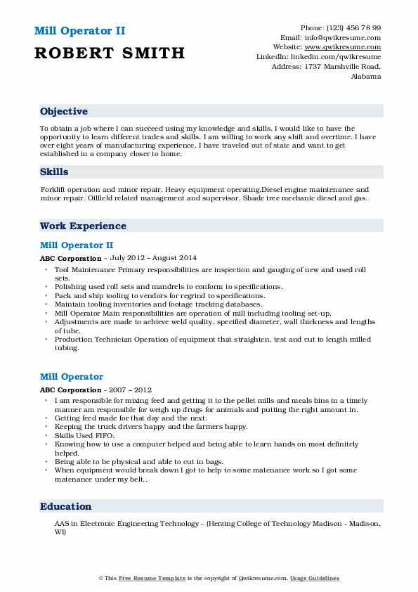 Mill Operator II Resume Template