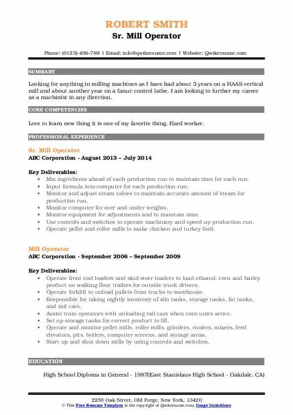 Sr. Mill Operator Resume Format