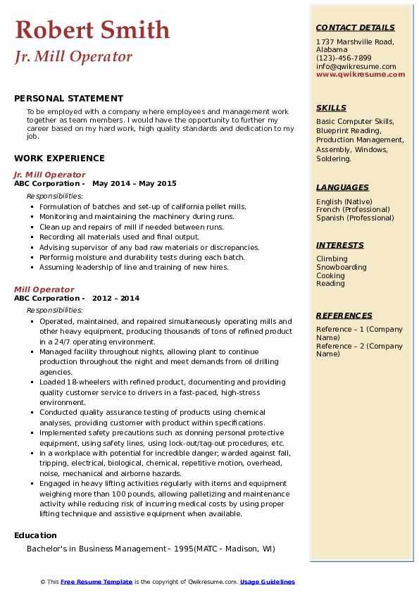Jr. Mill Operator Resume Model