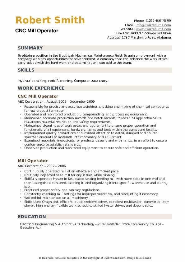 CNC Mill Operator Resume Example