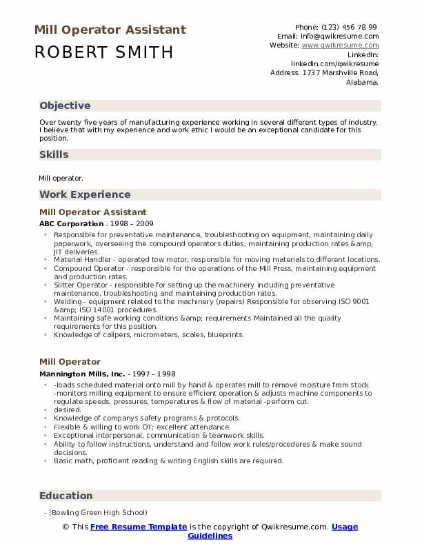 Mill Operator Assistant  Resume Format