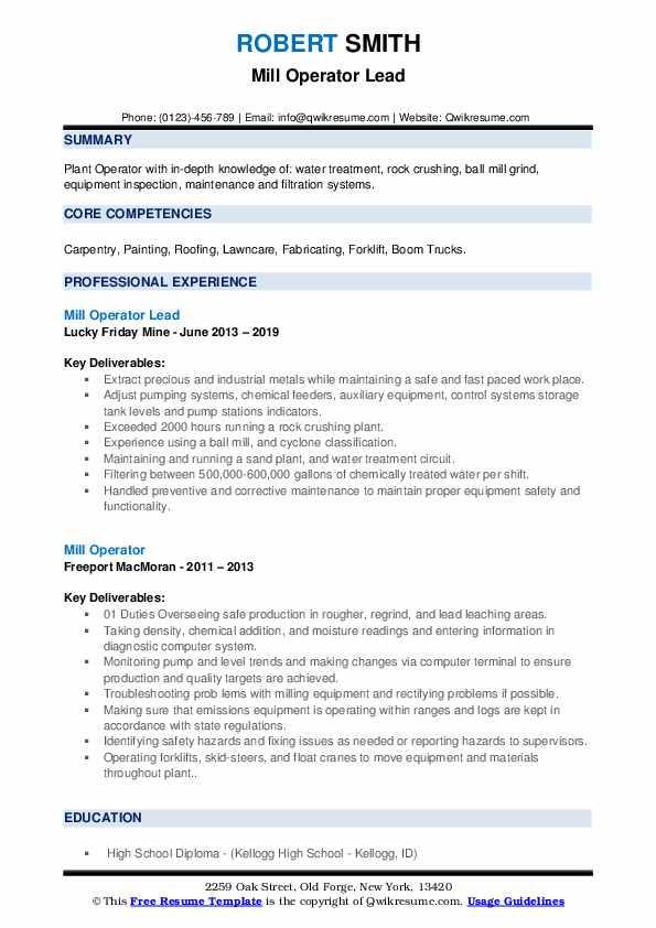 Mill Operator Lead Resume Format
