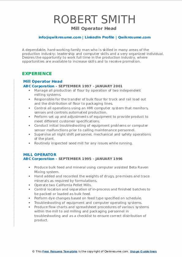 Mill Operator Head  Resume Format