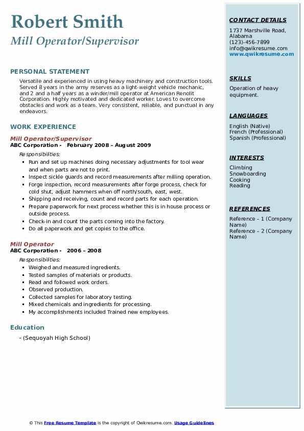 Mill Operator/Supervisor Resume Model