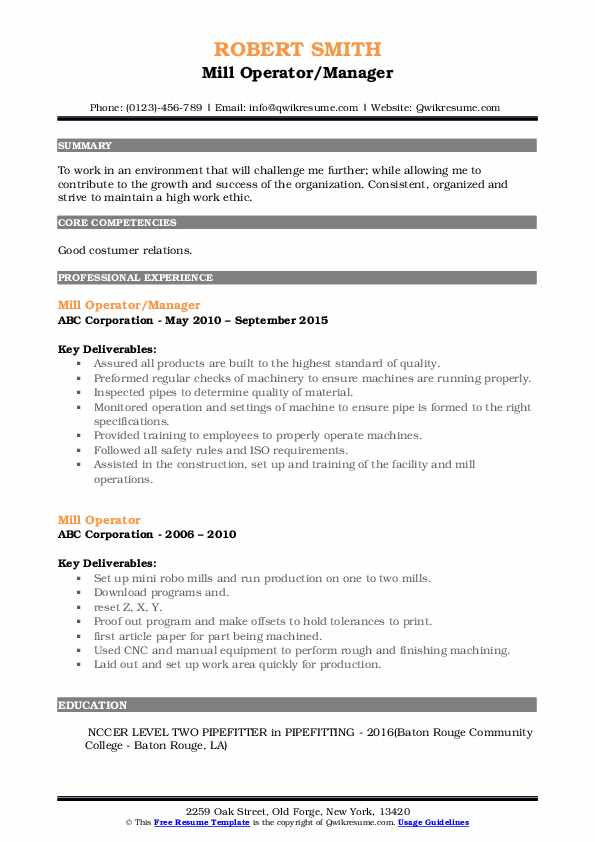 Mill Operator/Manager Resume Template