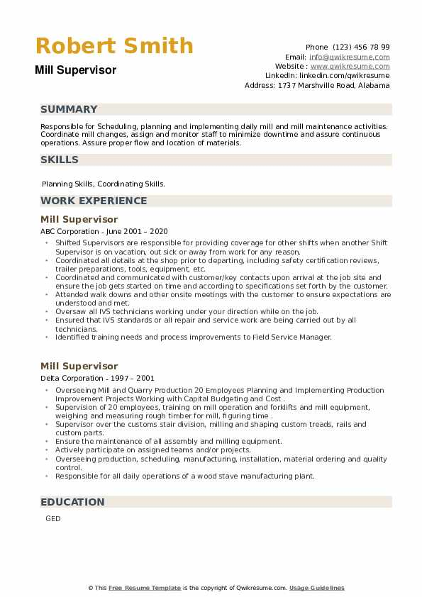Mill Supervisor Resume example
