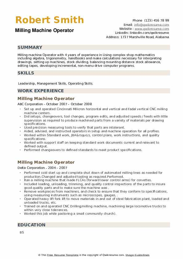 Milling Machine Operator Resume example