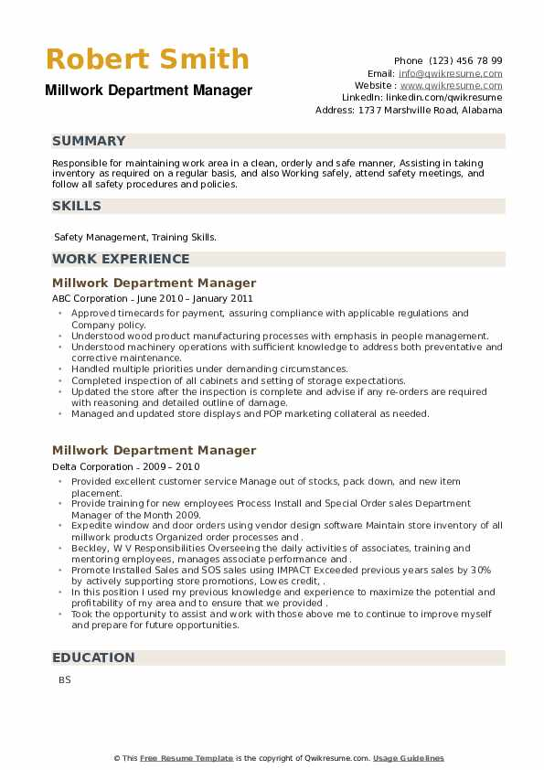 Millwork Department Manager Resume example