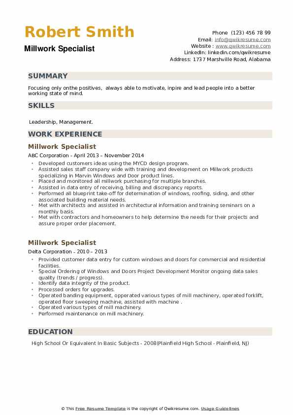 Millwork Specialist Resume example