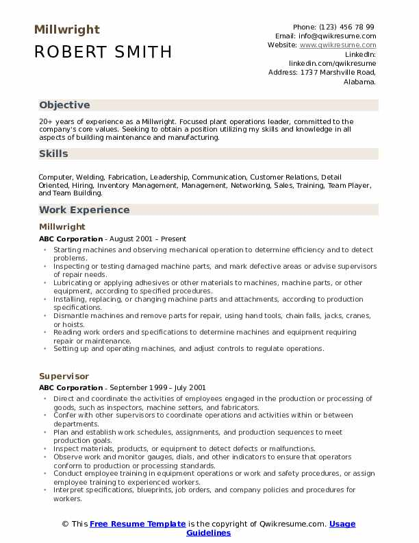 millwright resume samples