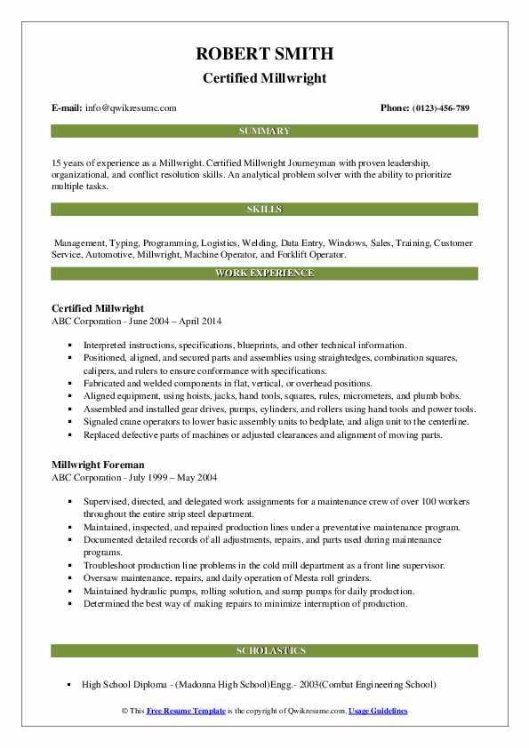 Certified Millwright Resume Model