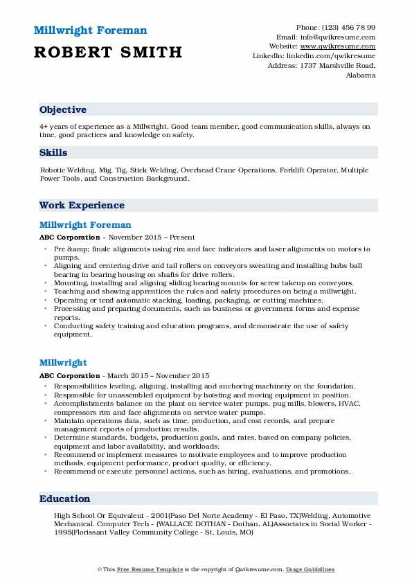 Millwright Foreman Resume Template
