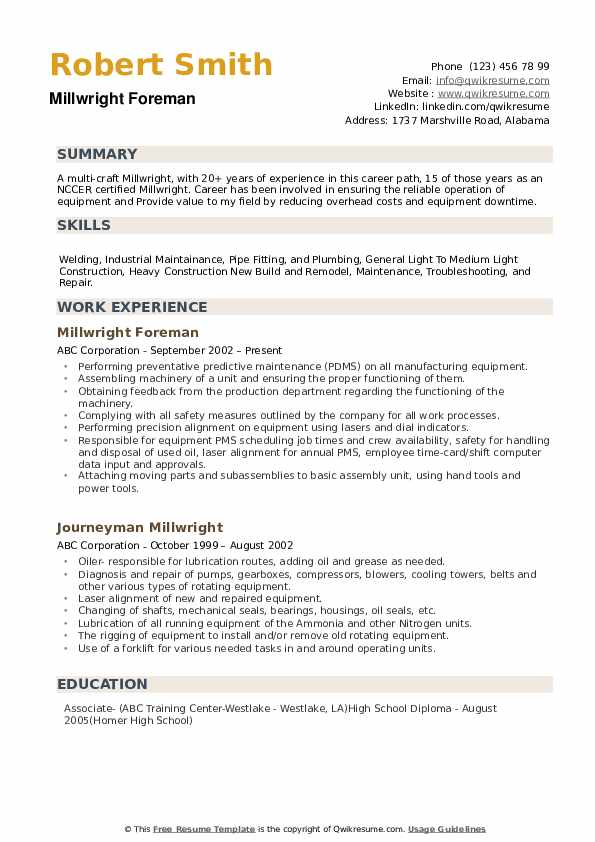 Millwright Resume example