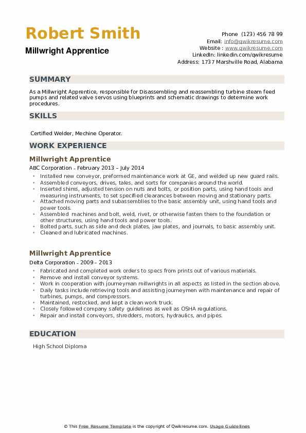 Millwright Apprentice Resume example