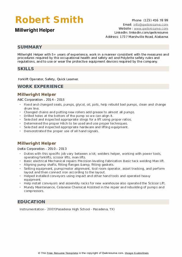 Millwright Helper Resume example