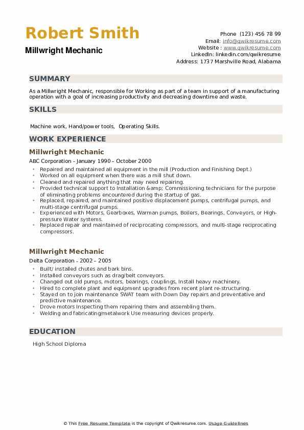 Millwright Mechanic Resume example