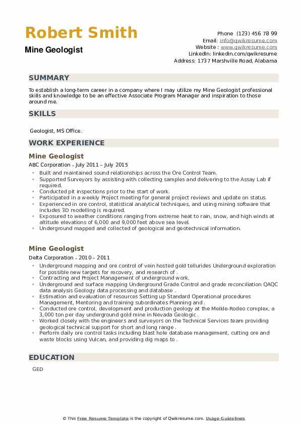 Mine Geologist Resume example