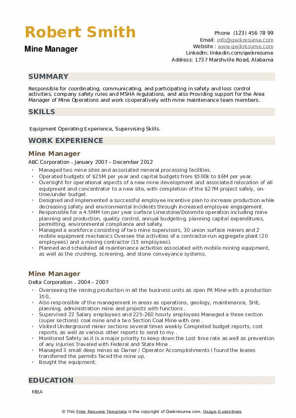 Mine Manager Resume example
