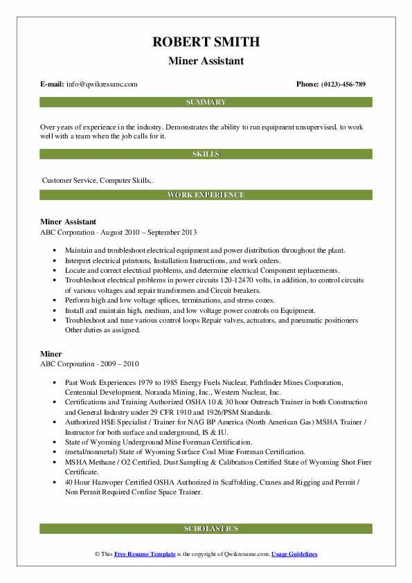 Miner Assistant Resume Example