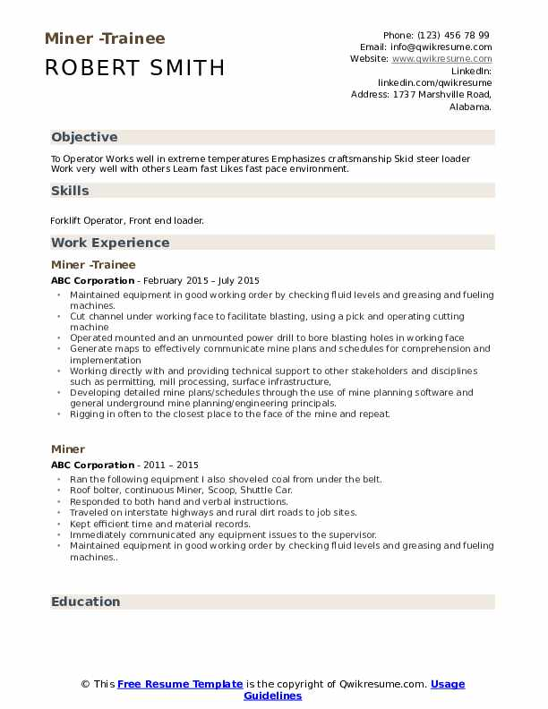 Miner -Trainee Resume Example