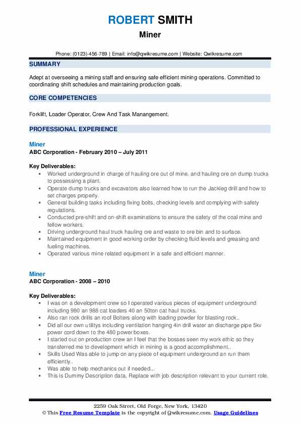 Miner Resume example