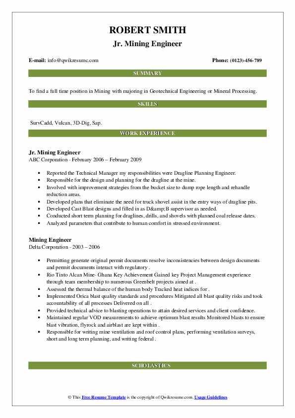 mining engineer resume samples  qwikresume