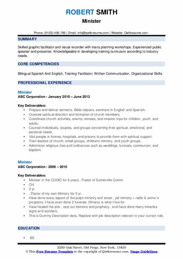 Minister Resume example