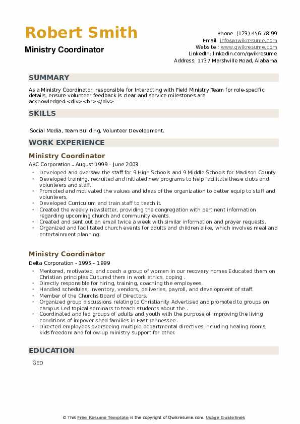 Ministry Coordinator Resume example