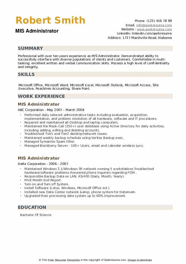 MIS Administrator Resume example