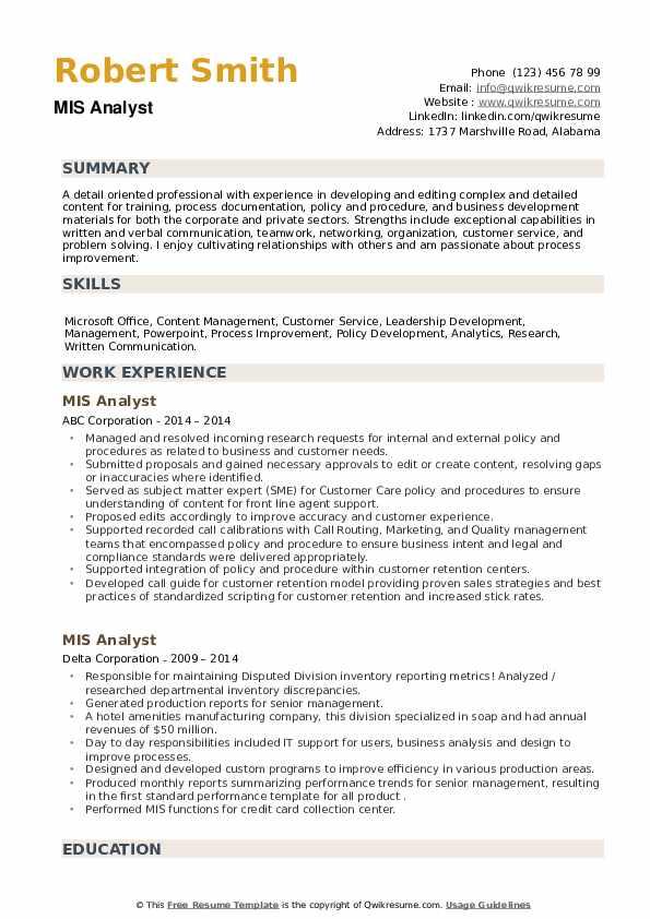 MIS Analyst Resume example