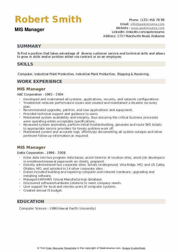 MIS Manager Resume example