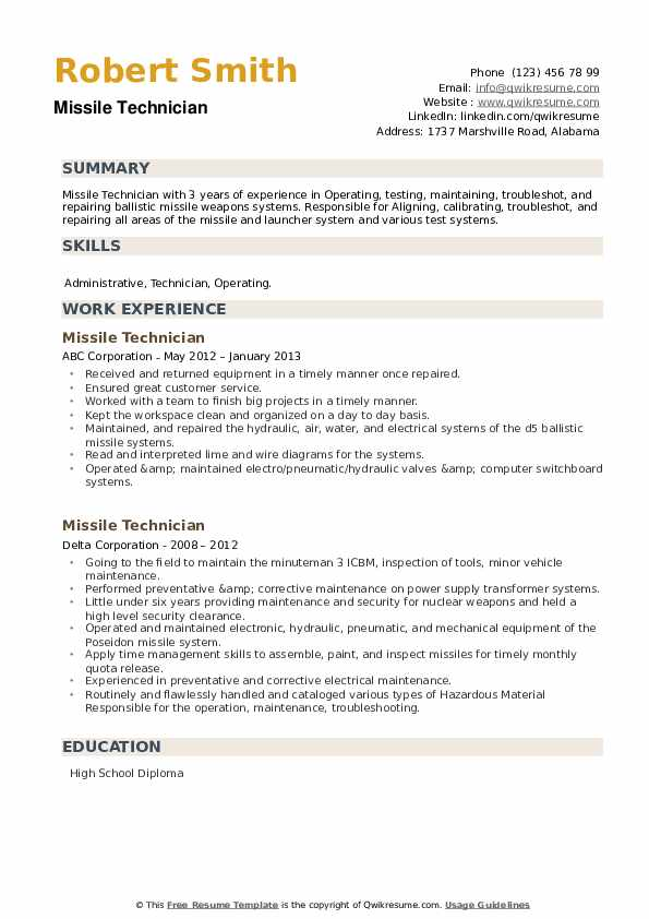 Missile Technician Resume example
