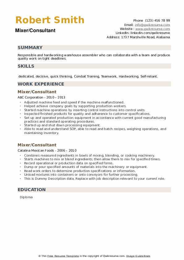 Mixer Resume example