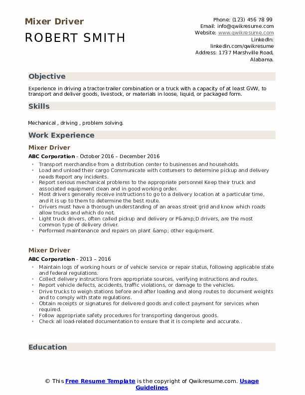 Mixer Driver Resume Model