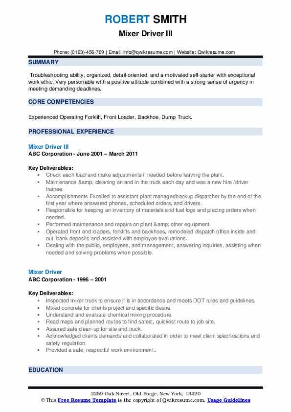 Mixer Driver III Resume Format