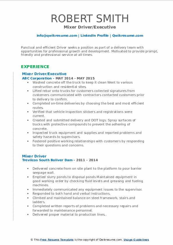 Mixer Driver/Executive Resume Sample