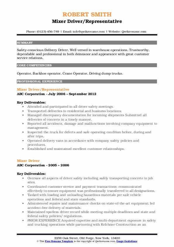 Mixer Driver/Representative Resume Example